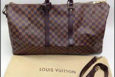LOUIS VUITTON ルイヴィトン ダミエ キーポル55 バンドリエール N41414 ボストンバッグ 旅行鞄 ※ネームタグイニシャル有 中古 美品高価買取致しました。