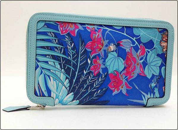 HERMES エルメス ソワクール フラミンゴパーティ ラウンドファスナー 長財布 T刻印 ウォレット 青 ブルー系 ※中古 美品 箱付き買取致しました。