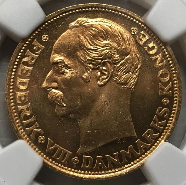 1911 VBP GJ DENMARK 20K MS65 NGC鑑定 1911年 20クローネ金貨 フレデリク8世買取致しました。