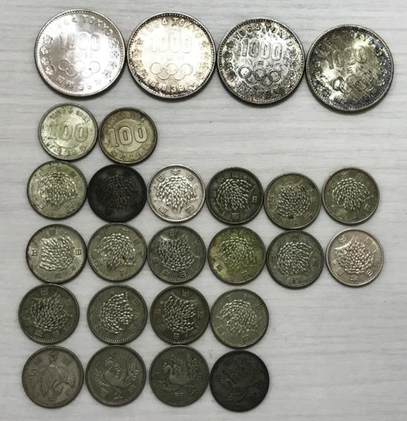 東京オリンピック1000円銀貨 4枚 100円2枚 稲穂100円16枚 鳳凰4枚 セット買取致しました。