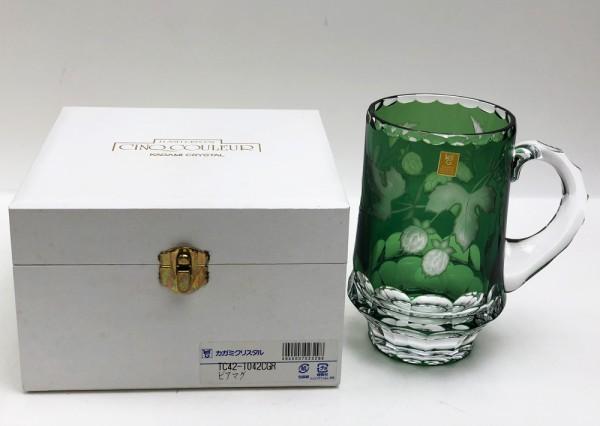 カガミクリスタル ビアマグ 700cc TC42-1042CGR 色被せ切子 ビールジョッキ 定価54000円 未使用品買取致しました。