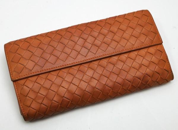 BOTTEGA VENETA ボッテガヴェネタ レザー 長財布 Wホック オレンジ 中古 買取致しました。