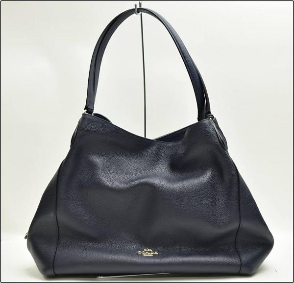 COACH コーチ イーディリファイン グレイン 33547 F1680 レザー ハンドバッグ 鞄 ネイビー 紺 ※未使用 超美品 保存袋付き買取致しました。