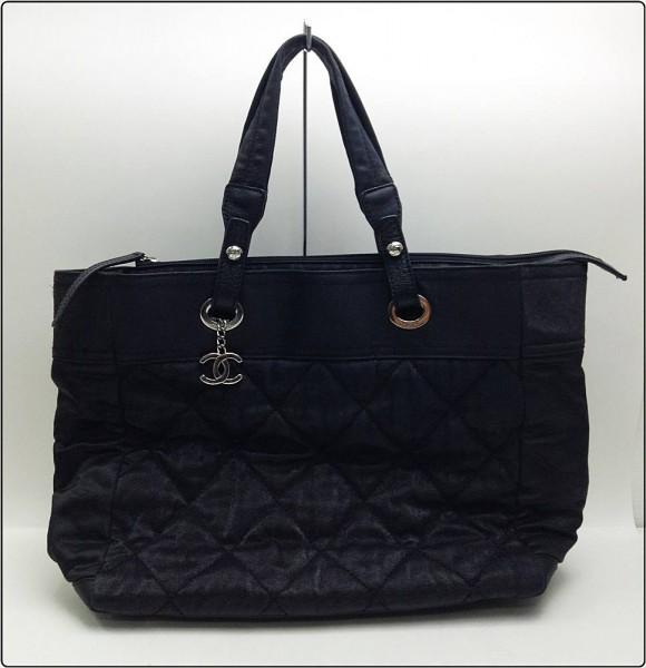 CHANEL シャネル パリビアリッツ トートバッグGM ハンドバッグ 黒 ブラック 鞄 ※中古 剥がれ有 保存袋付き買取致しました。
