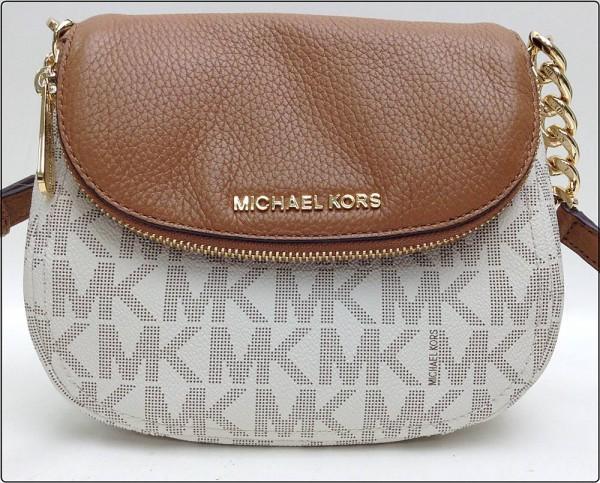 MICHAEL KORS マイケルコース MK ロゴ柄 ショルダーバッグ ポシェット ワンショルダー ミニバッグ PVCレザー 白×茶系 ※中古 美品買取致しました。
