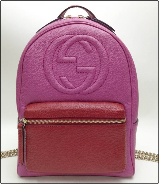 GUCCI グッチ GGロゴ レザー ソーホー リュックサック バックパック 451570 ピンク×赤 チェーンショルダー 買取致しました。
