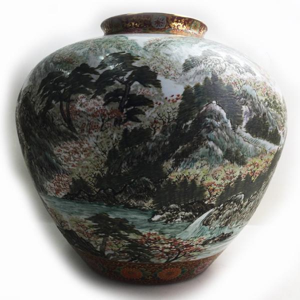 有田焼 視行釜 ハンドペイント 作者不明 約W45×H42cm 14.85kg 色絵 風景画 壺 大花瓶 中古買取致しました。