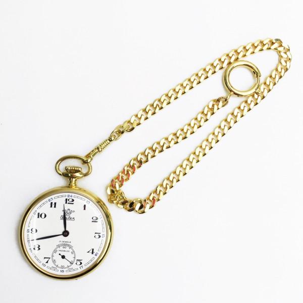 watex ワテックス 懐中時計 手巻き ホワイト×ゴールド チェーン 買取致しました。