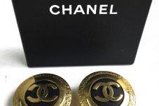 シャネル CHANEL イヤリング デカココマーク ブラック×ゴールド金具 買取致しました。
