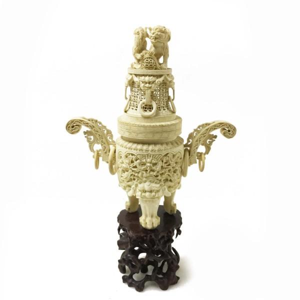 象牙 香炉 1728.2g 高さ約35.5cm 買取致しました。