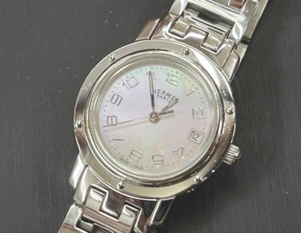 恵那市のお客様よりエルメス HERMES クリッパー ピンクシェル CL4.210 腕時計 買取致しました。